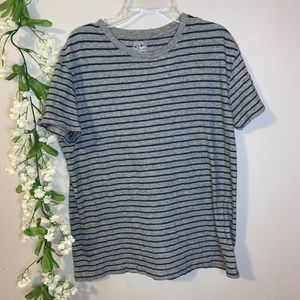 Teal & gray striped t shirt J crew size M